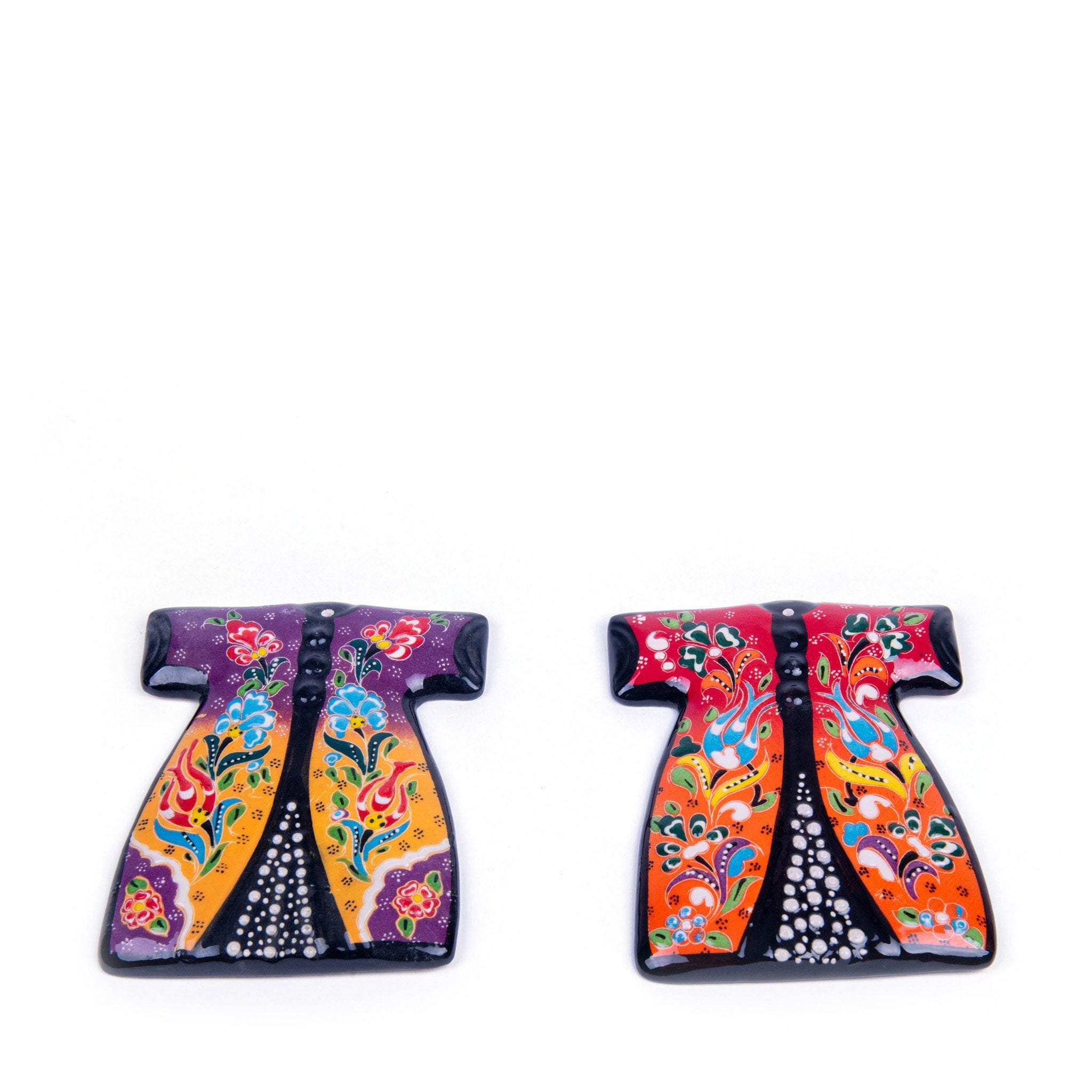 Turkish Ceramic Kutahya Design Handmade Kaftan Set Of Two - 15 cm (6'') - (Red-Purple)-1