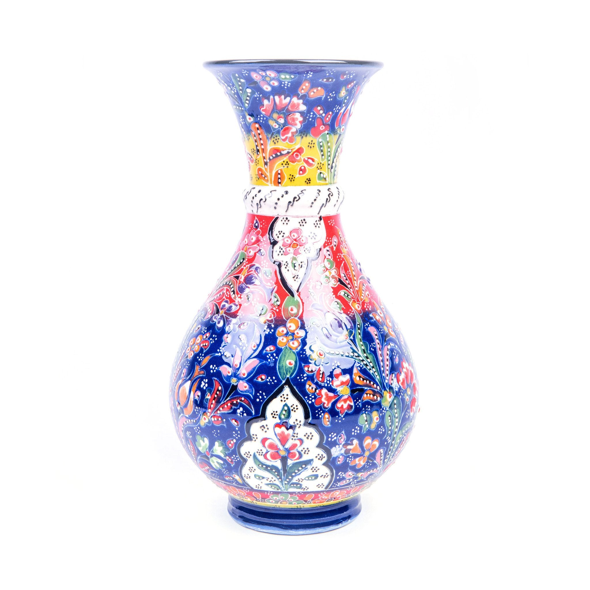 Turkish Ceramic Kutahya Design Handmade Large Vase - 30 cm (12'')