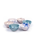 Load image into Gallery viewer, Turkish Ceramic Iznik Design Handmade Marbled Bowl Set Of Six - Turquoise - 8 cm (3.2'')-3