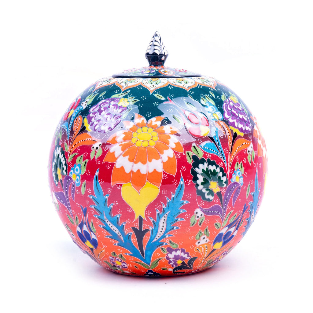 Turkish Ceramic Kutahya Design Handmade Round Jar - 23 cm (9.2'')