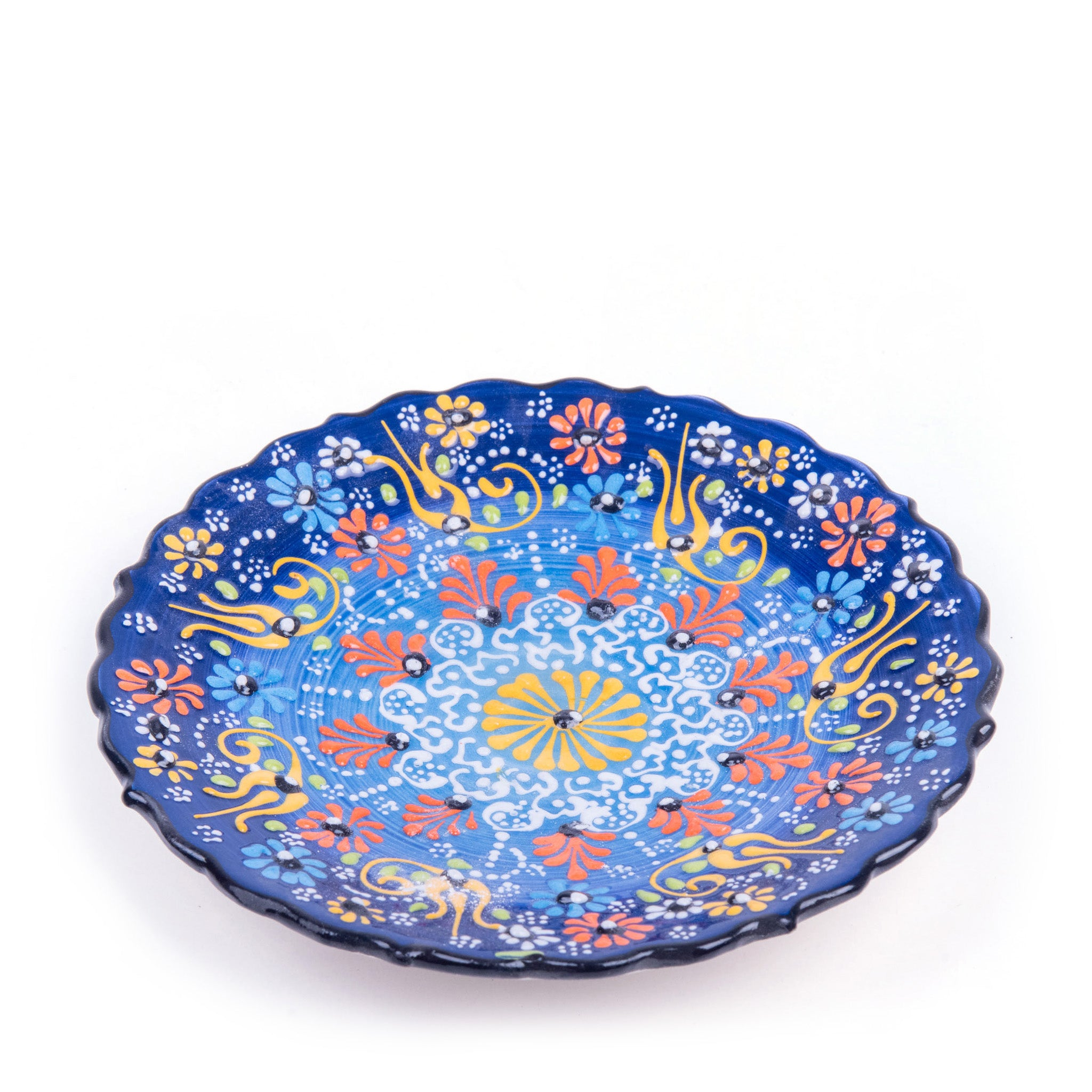 "Turkish Ceramic Iznik Design Handmade Round Plate - 18 cm (7.2"")-1"