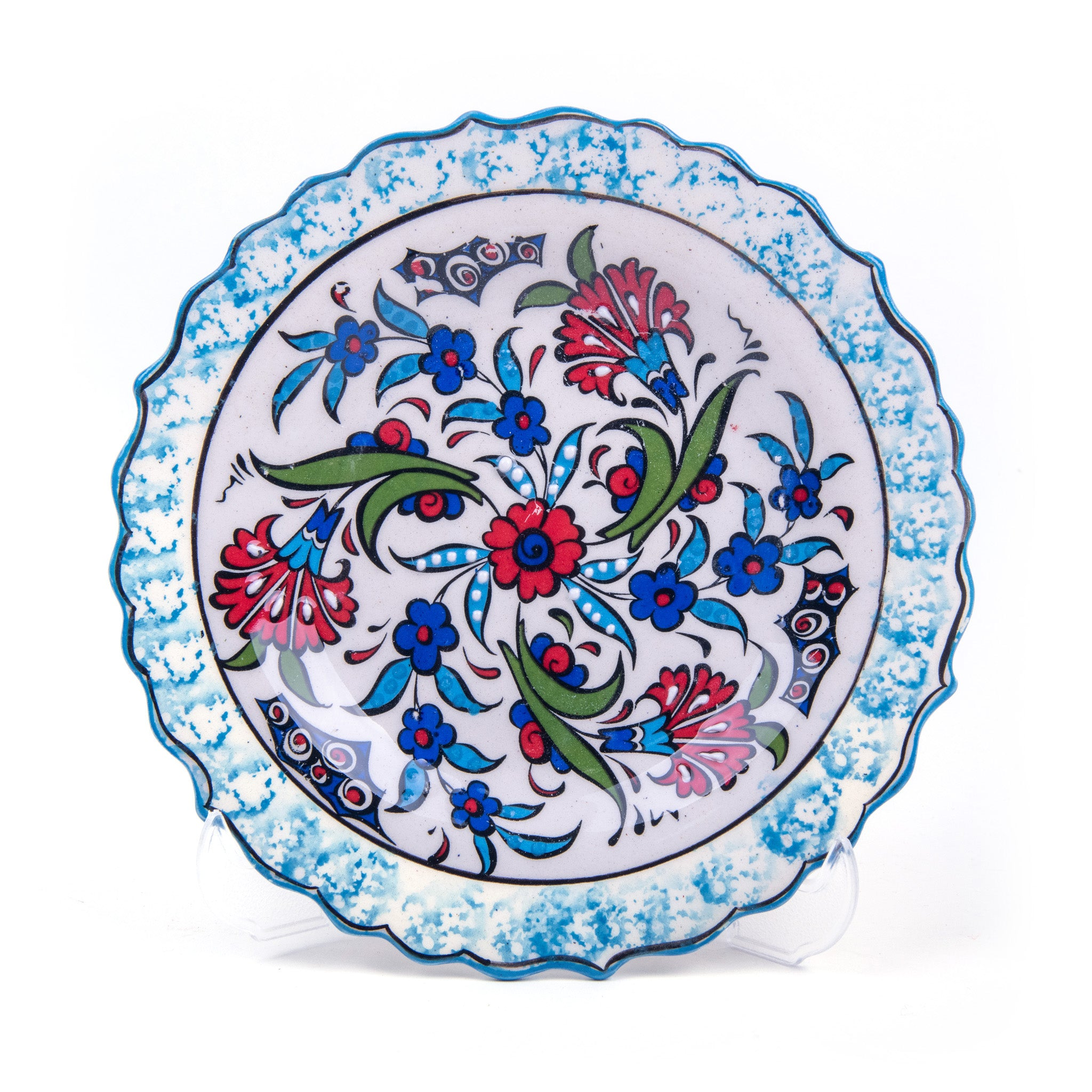 "Turkish Ceramic Iznik Design Handmade Round Plate - 18 cm (7.2"")"
