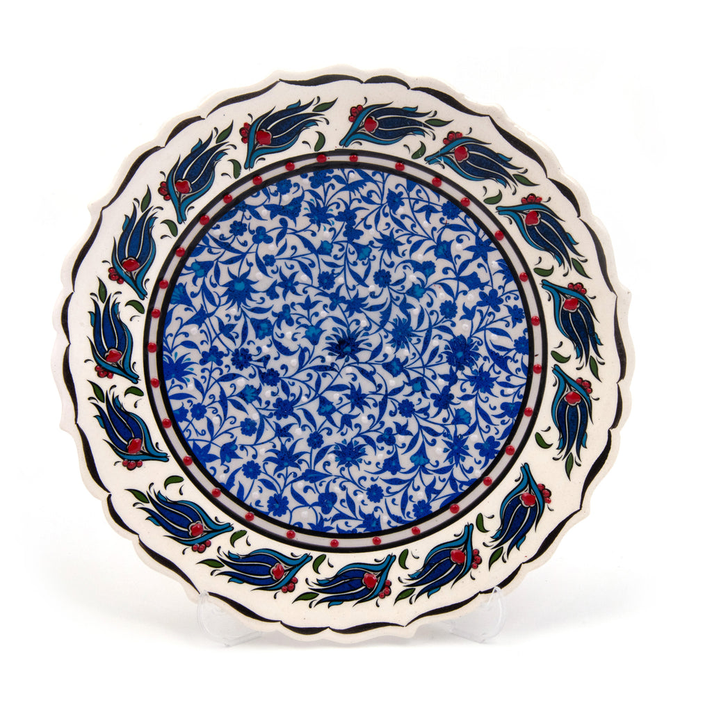 "Turkish Ceramic Iznik Design Handmade Round Plate - 25 cm (10"")"