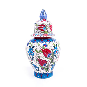 Turkish Ceramic Iznik Design Handmade Samur Shah Jar