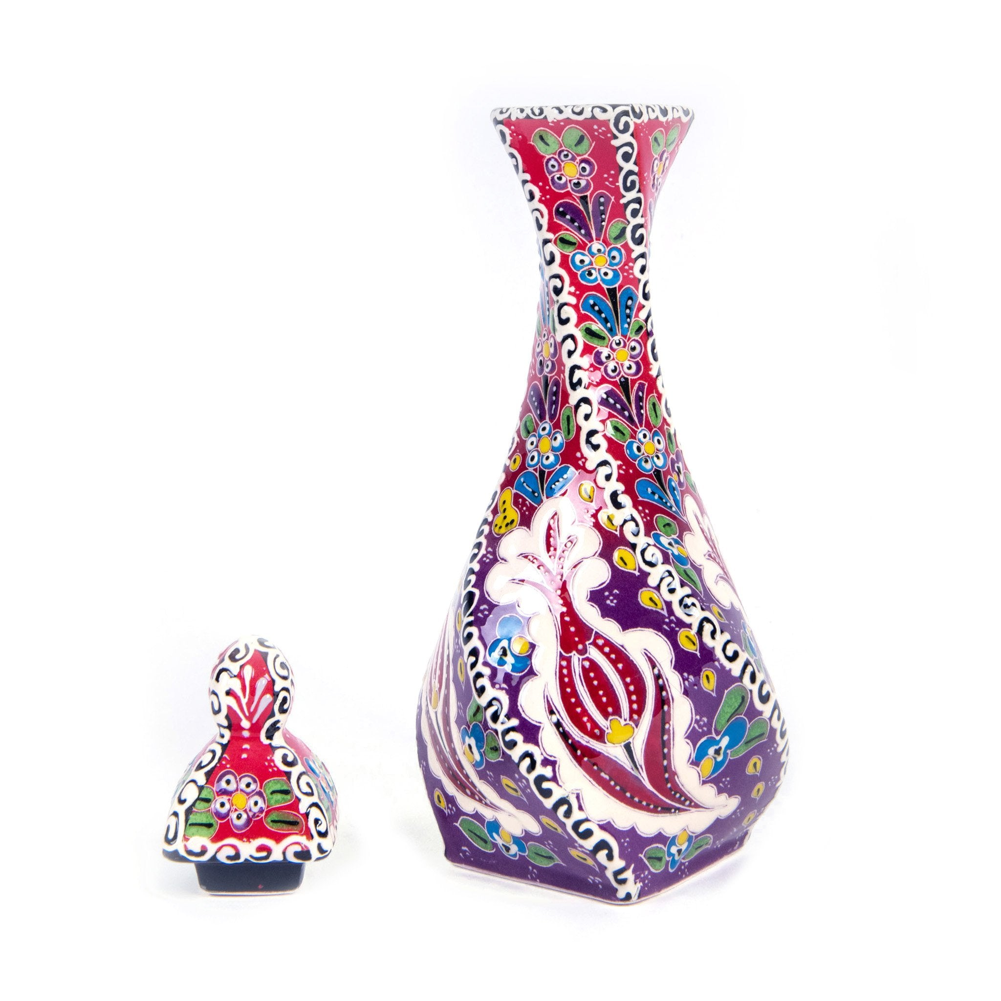 Turkish Ceramic Kutahya Design Handmade Screwed Vase - 30 cm (12'')-1