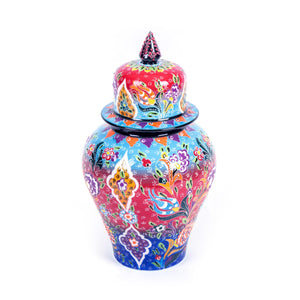 Turkish Ceramic Kutahya Design Handmade Shah Jar - 32 cm (12.8'')-1