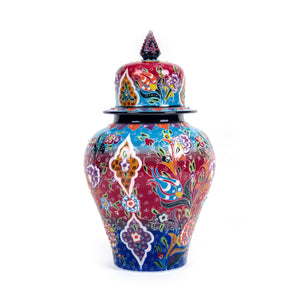 Turkish Ceramic Kutahya Design Handmade Shah Jar - 32 cm (12.8'')