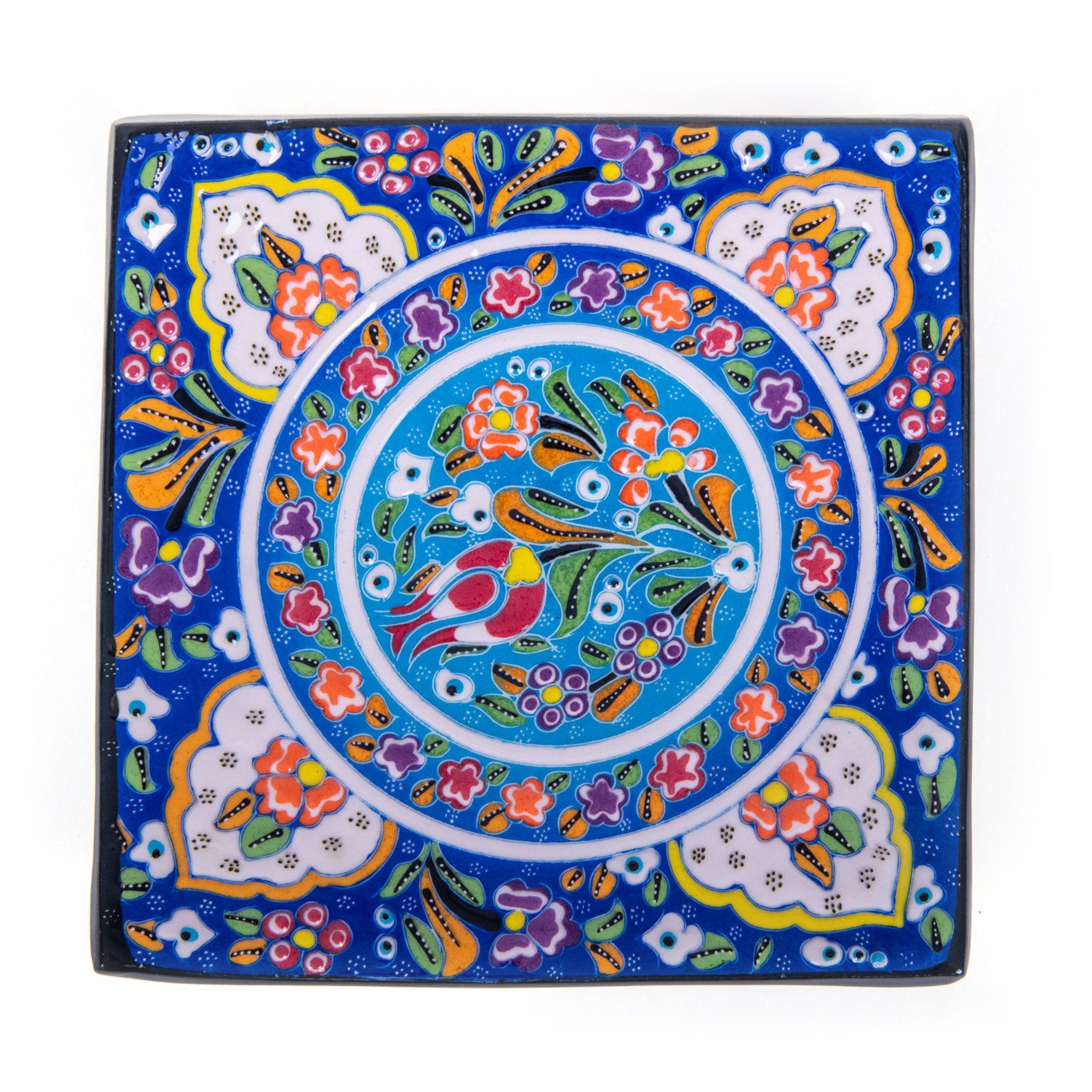 Turkish Ceramic Kutahya Design Handmade Square Plate - 20 cm (8'')