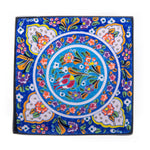 Laden Sie das Bild in den Galerie-Viewer, Turkish Ceramic Kutahya Design Handmade Square Plate - 20 cm (8'')