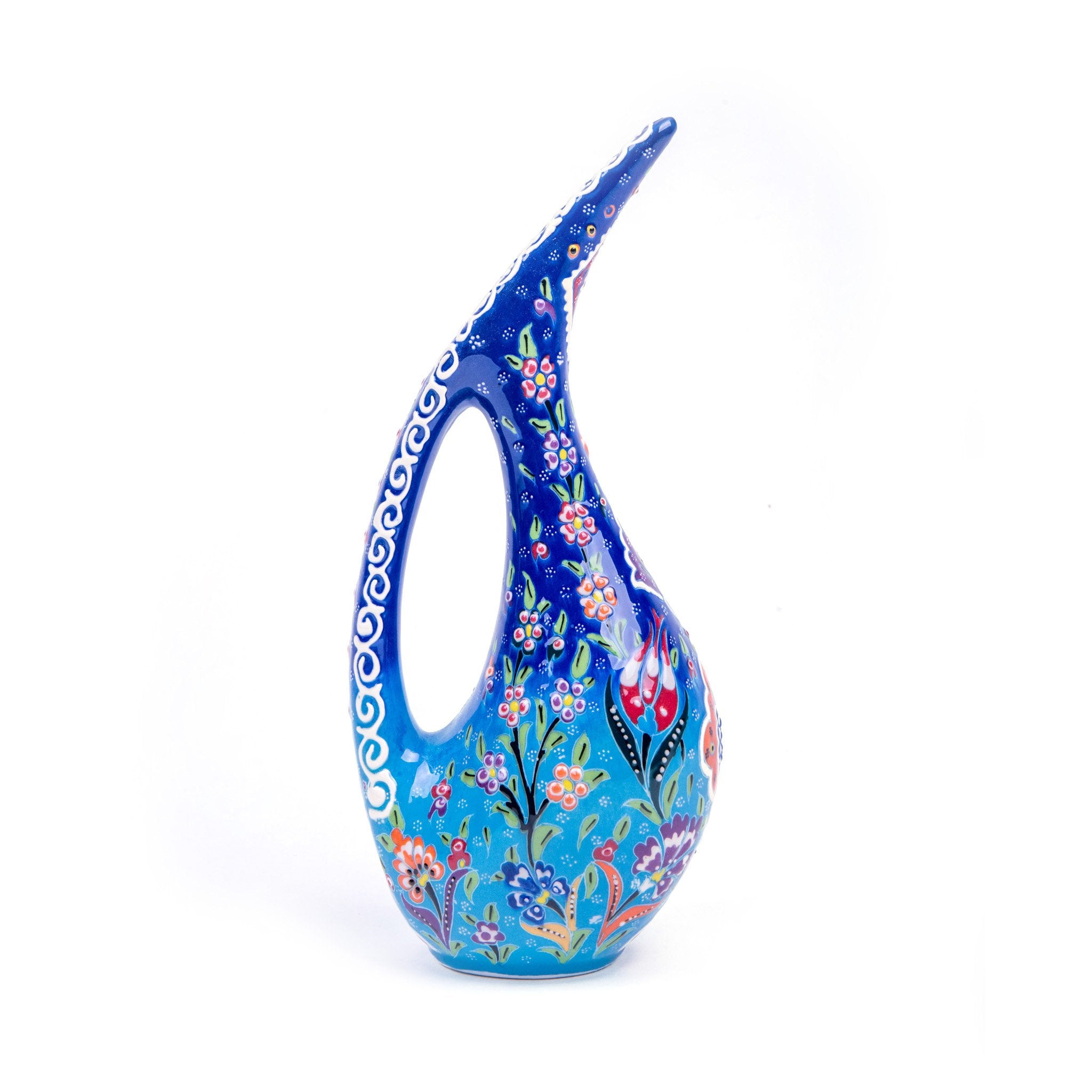 Turkish Ceramic Kutahya Design Handmade Swan Pitcher - 30 cm (12'')