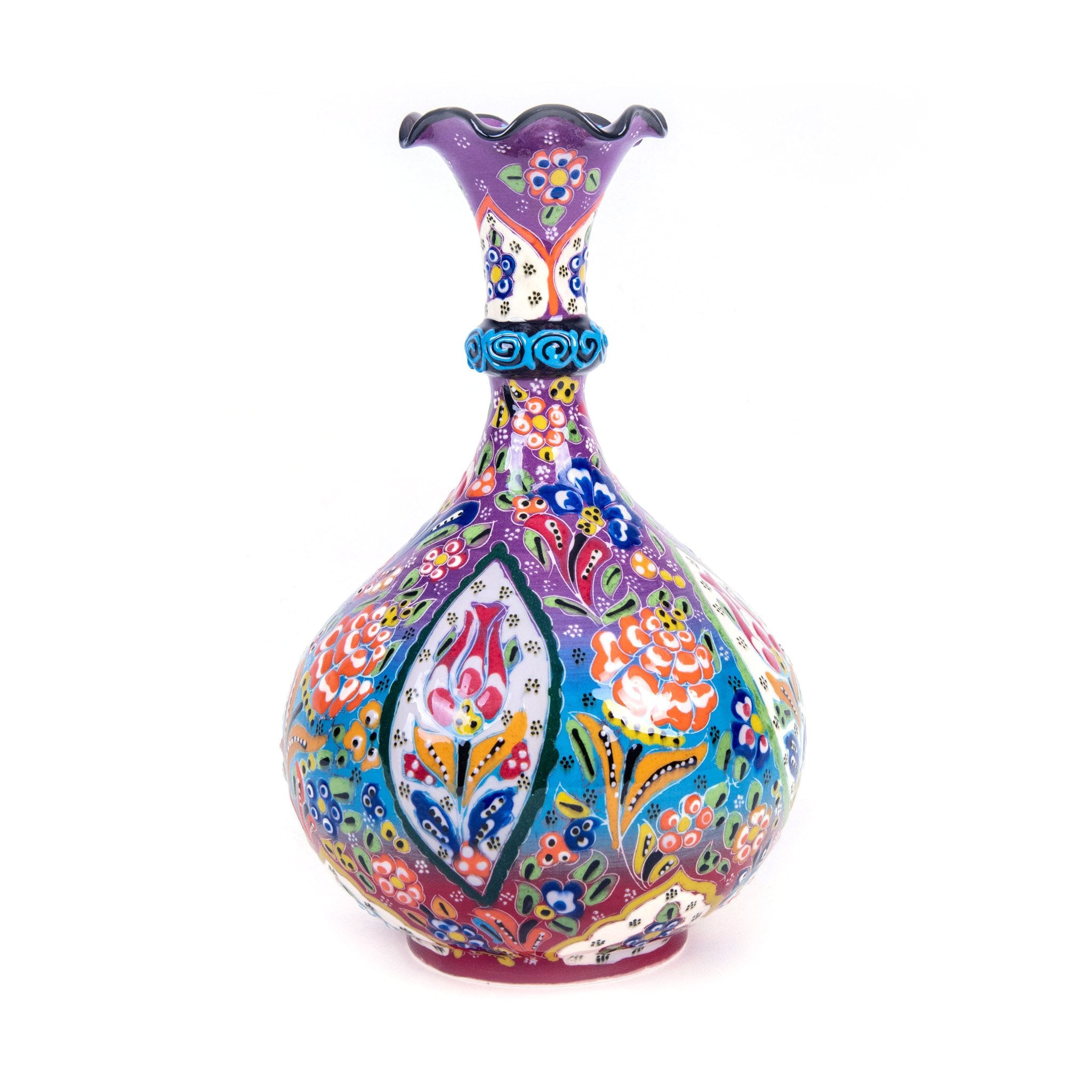 Turkish Ceramic Kutahya Design Handmade Teardrop Vase - 25 cm (10'')-1