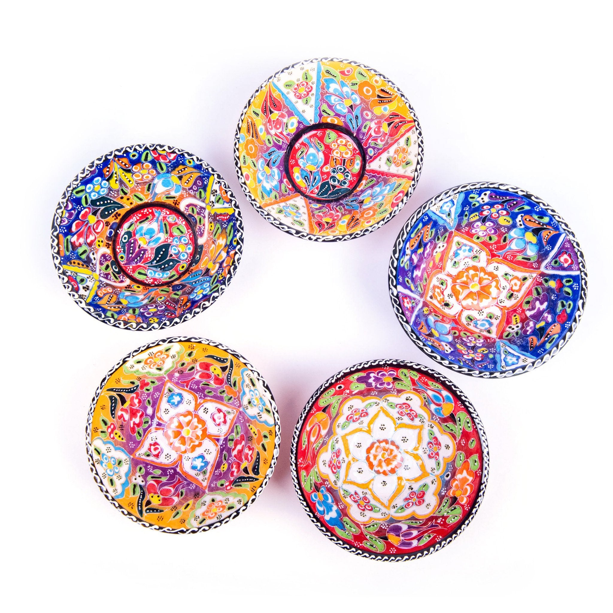 Turkish Ceramic Kutahya Design Handmade V Flat Bowl Set Of Five - 12 cm (4.8'')