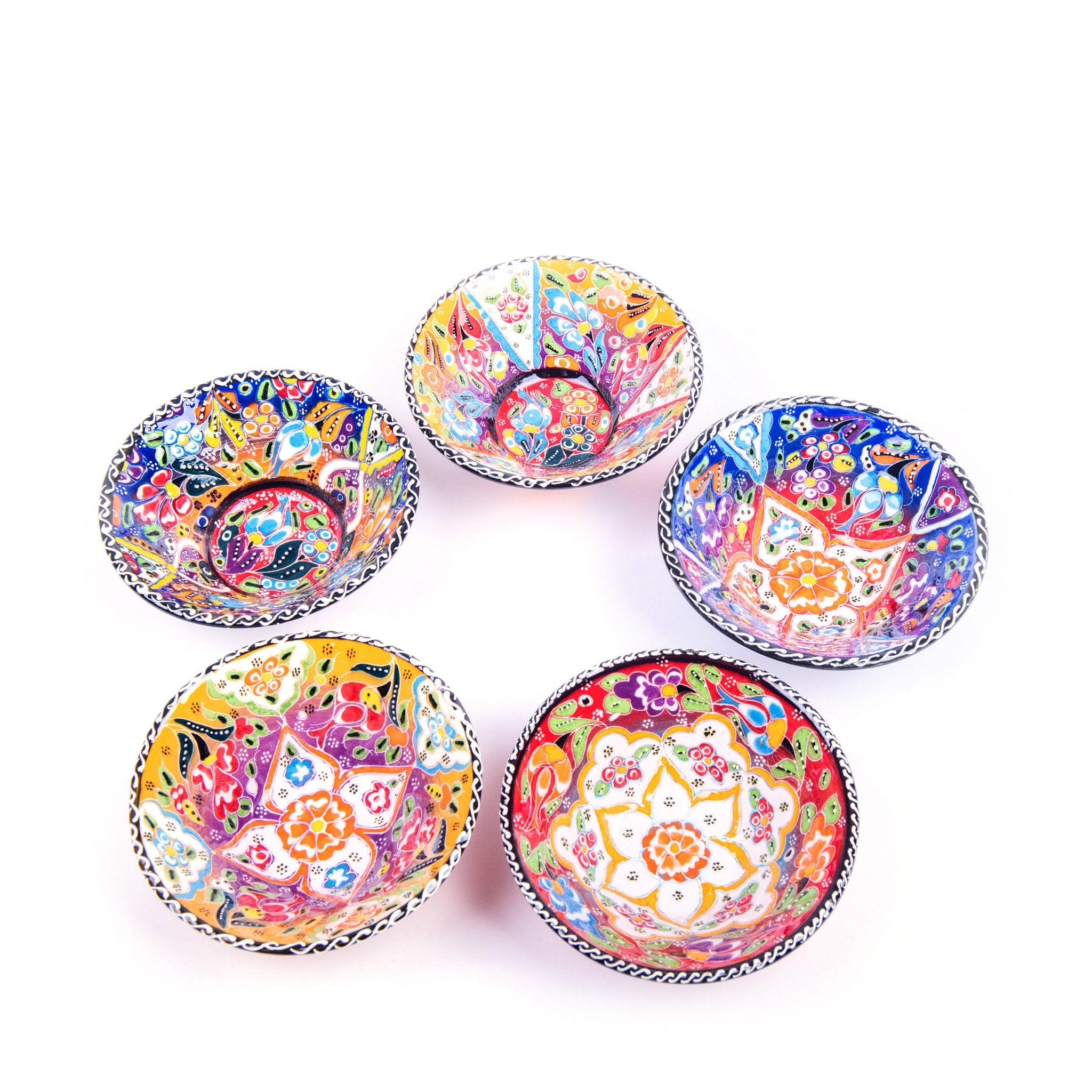 Turkish Ceramic Kutahya Design Handmade V Flat Bowl Set Of Five - 12 cm (4.8'')-1