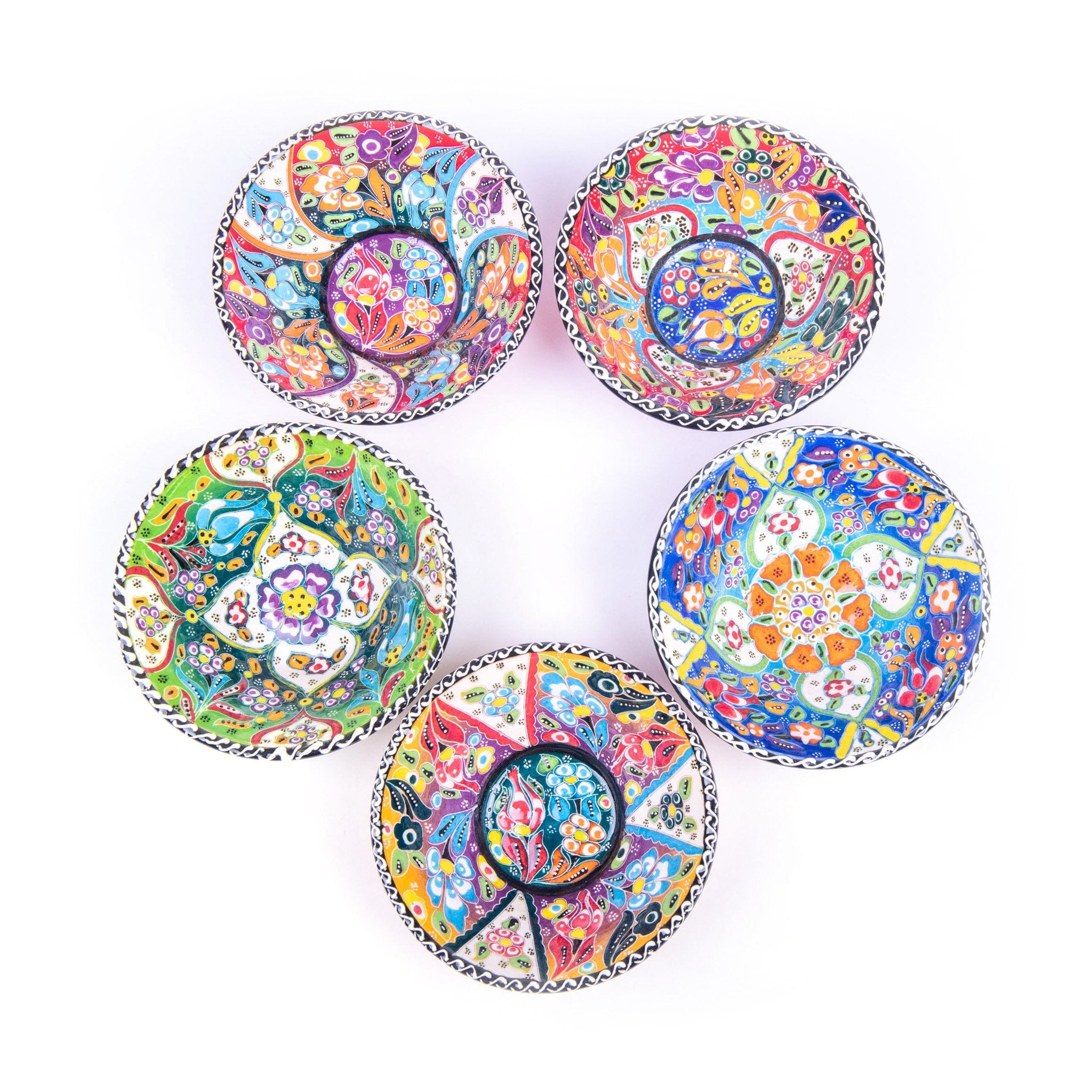 Turkish Ceramic Kutahya Design Handmade V Flat Bowl Set Of Five - 12 cm (4.8'')-2
