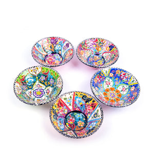 Turkish Ceramic Kutahya Design Handmade V Flat Bowl Set Of Five - 12 cm (4.8'')-3
