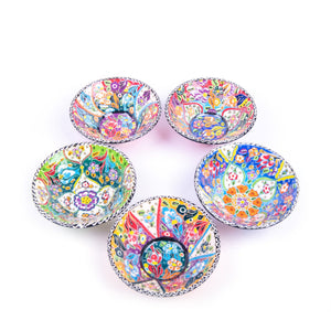 Turkish Ceramic Kutahya Design Handmade V Flat Bowl Set Of Five - 12 cm (4.8'')-4