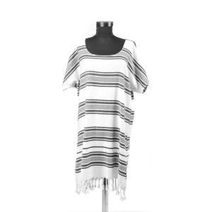 Turkish Towel, Black Beach Dress With Striped