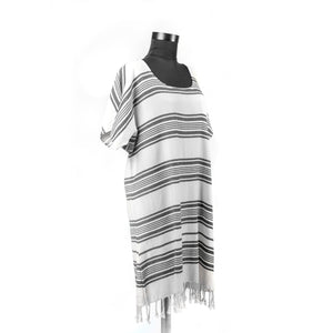 Turkish Towel, Black Beach Dress With Striped-Side
