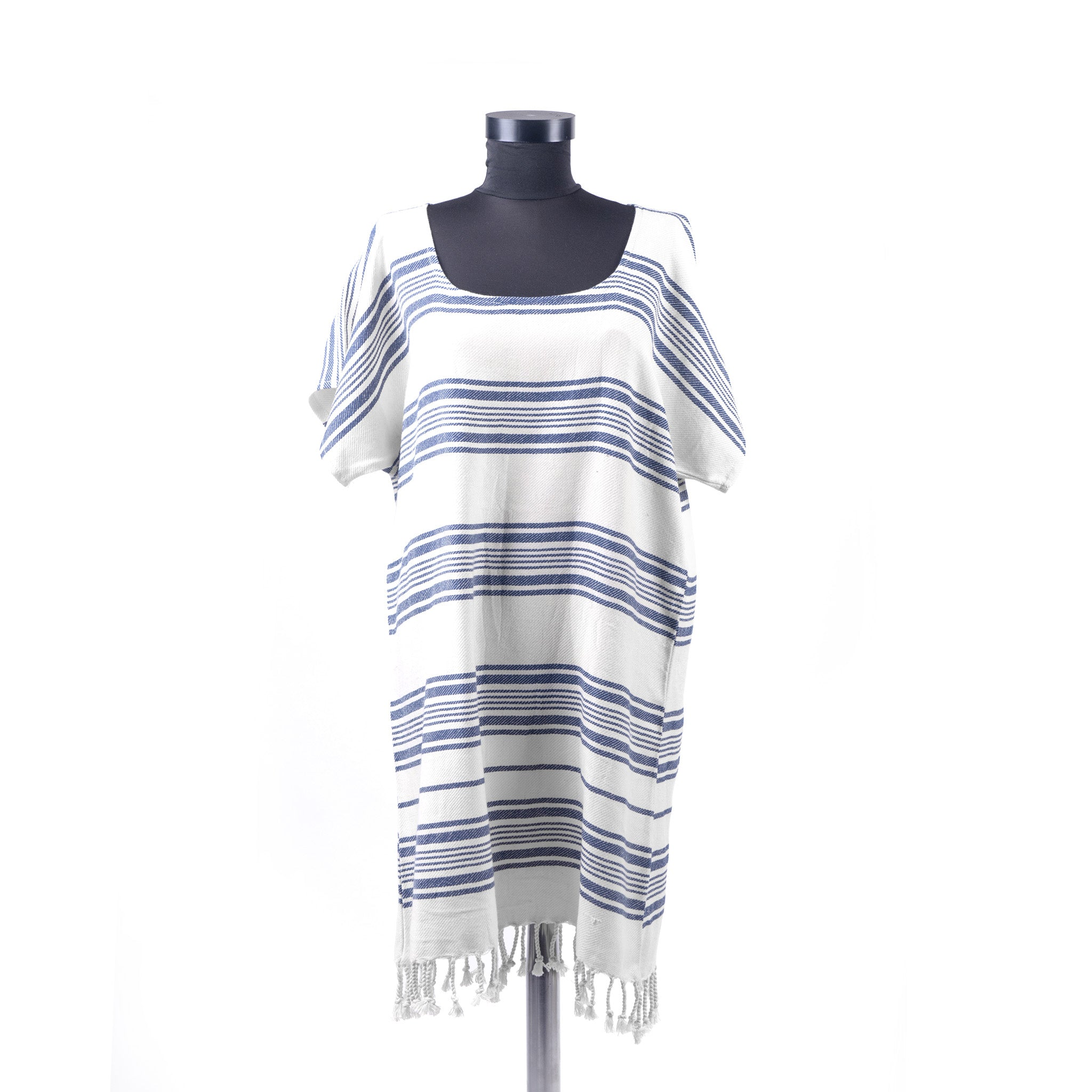 Turkish Towel, Blue Beach Dress With Striped