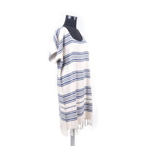 Turkish Towel, Blue Beach Dress With Striped-Side