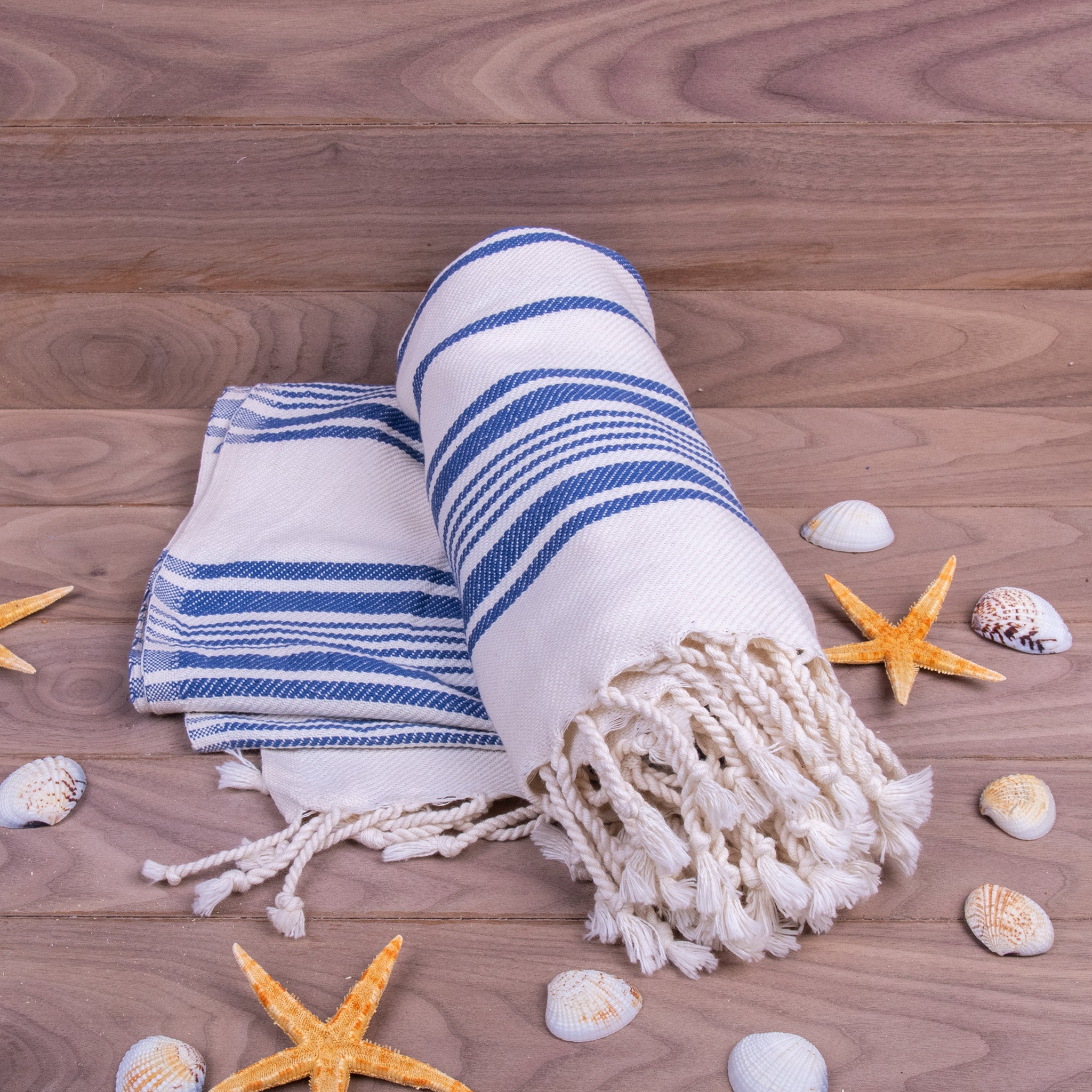 Turkish Towel, Black & White Striped Blue Peshtemal With Background