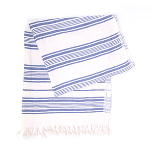 Turkish Towel, Black & White Striped Blue Peshtemal