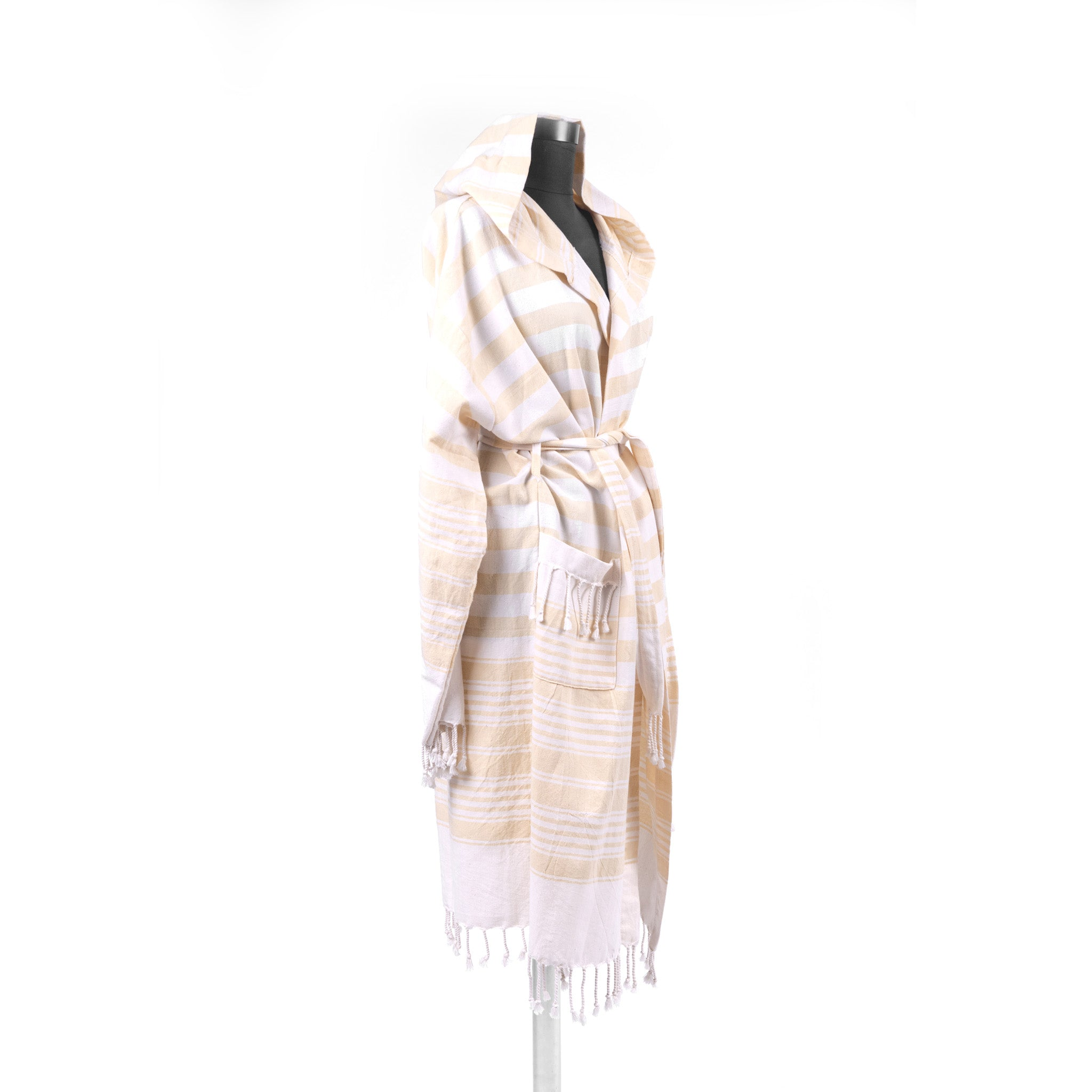Turkish Towel, Hooded Yellow Bathrobe-Side