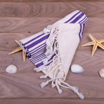 Load image into Gallery viewer, Turkish Towel, Peshkir, Hand Towel With Background - Blue