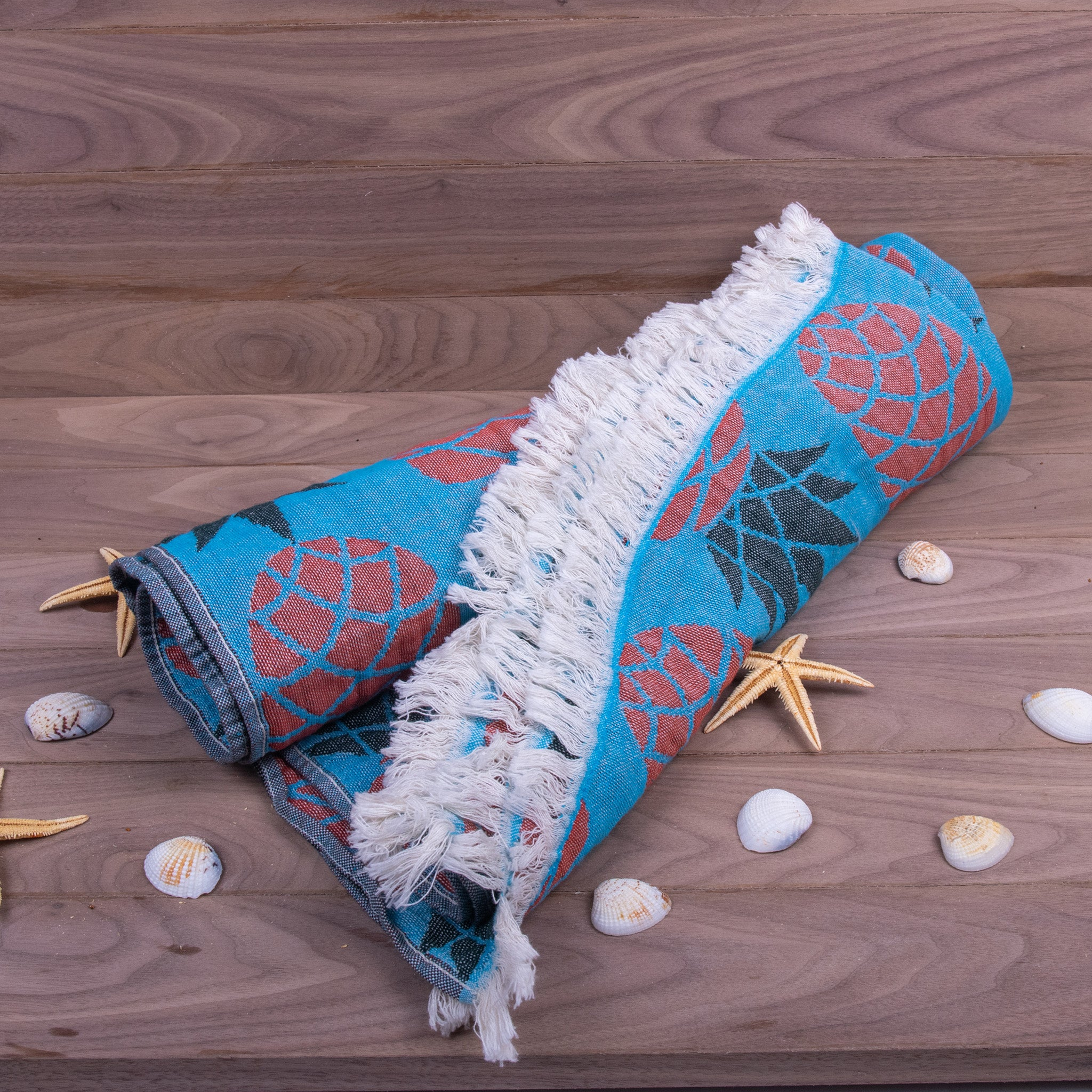 Turkish Towel, Pineapple Design Peshtemal With Background-02