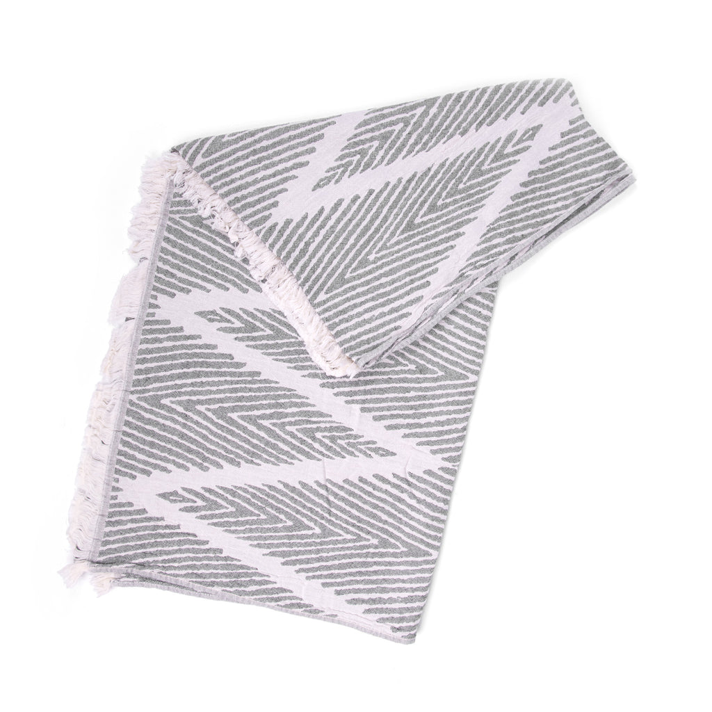 Turkish Towel, Zig Zag Design Black Peshtemal