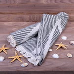 Load image into Gallery viewer, Turkish Towel, Zig Zag Design Black Peshtemal With Background