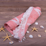 Load image into Gallery viewer, Turkish Towel, Zig Zag Design Red Peshtemal With Background