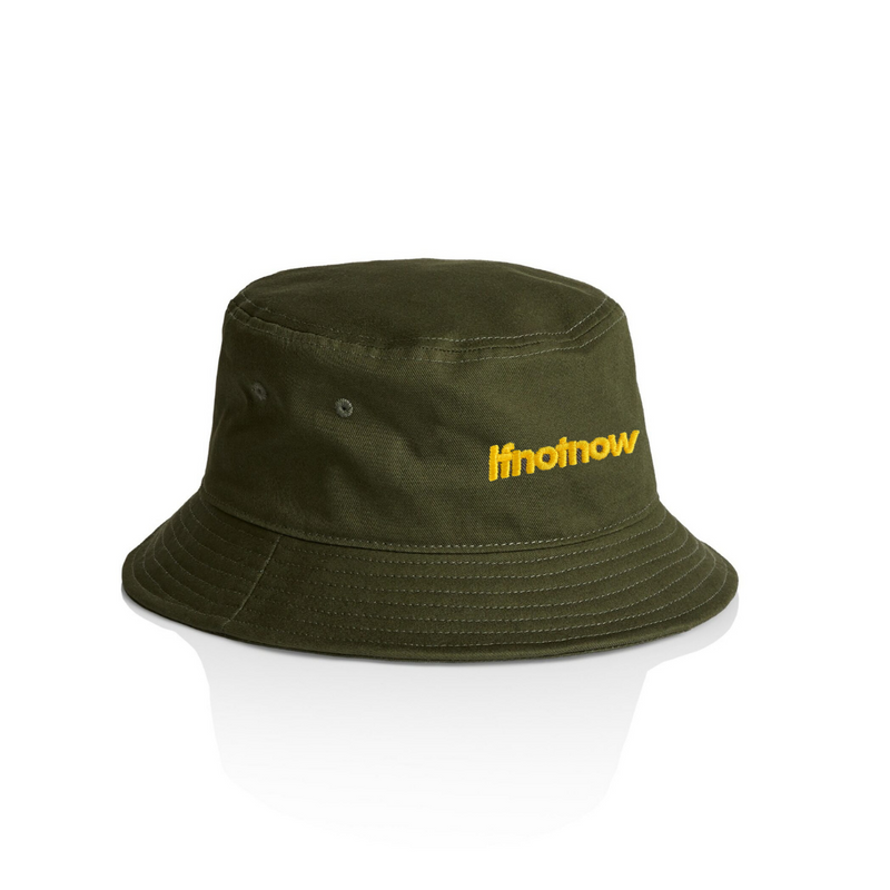 Army Green 'Ifnotnow' yellow embroidery bucket hat