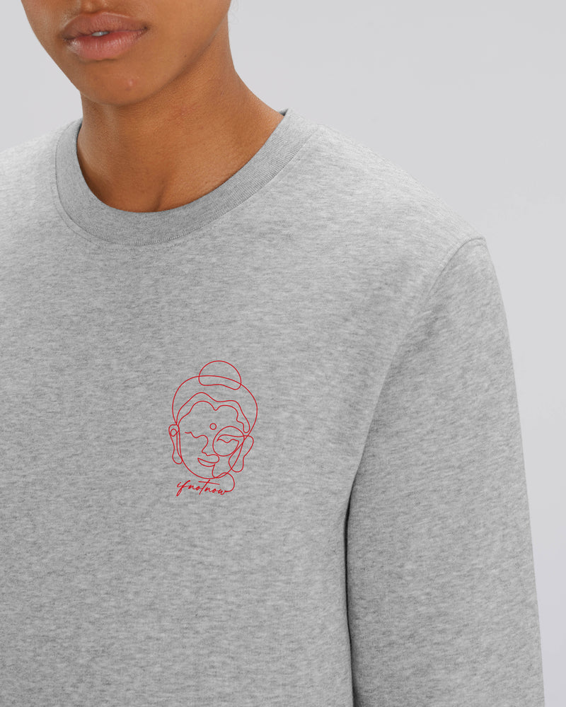 BUDDHA HEATHER GREY UNISEX SWEATSHIRT