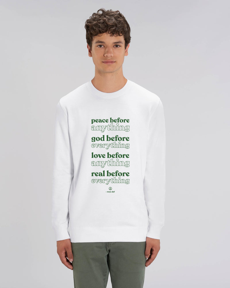 PEACE BEFORE WHITE UNISEX SWEATSHIRT