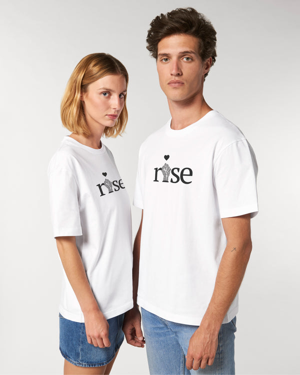 'RISE' WHITE WOMENS UNISEX T-SHIRT
