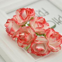 Load image into Gallery viewer, 6pcs Cheap Paper Rose Artificial Flowers scrapbooking For wedding car decoration handicraft DIY Gift box wreath material fake