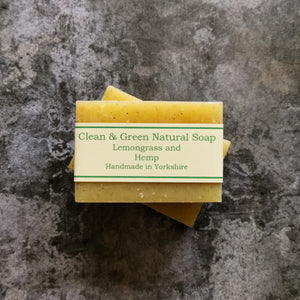 Lemongrass and Hemp Handmade Soap - Free from Parabens, palm oil and are environmentally friendly
