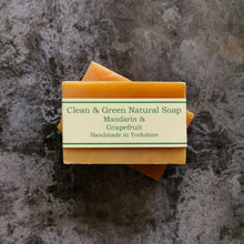 Load image into Gallery viewer, Zesty Mandarin and Grapefruit Soap Bar Handmade by Clean & Green Natural Soap in Yorkshire