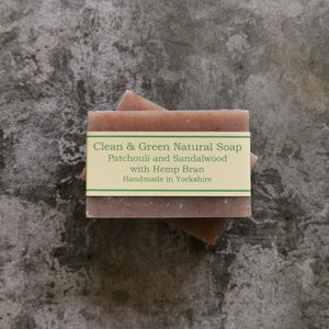 Patchouli & Sandalwood with Hemp Bran - Natural - Handmade - Soap Bar