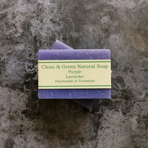 Purple French Lavender Soap Bar - Handmade by Clean & Green Natural Soap in Yorkshire using Coconut Oil, Shea Butter, Olive Oil and Lavender essential oil