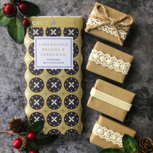 Caramelised Orange & Cardamom Chocolate & Rustic Christmas Favour Gift Set