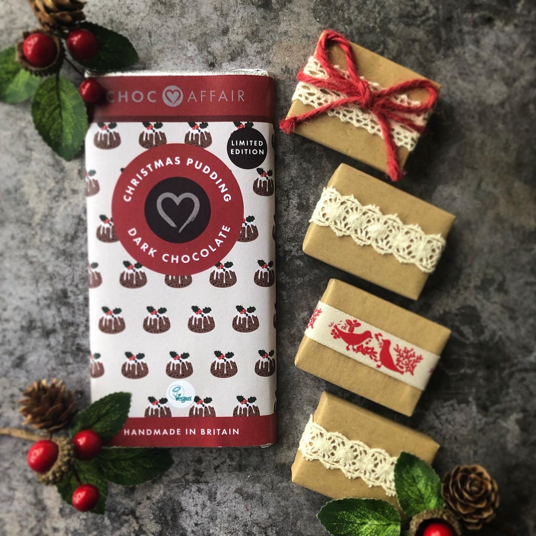 Christmas Pudding Chocolate & Rustic Red Christmas Favour Gift Set