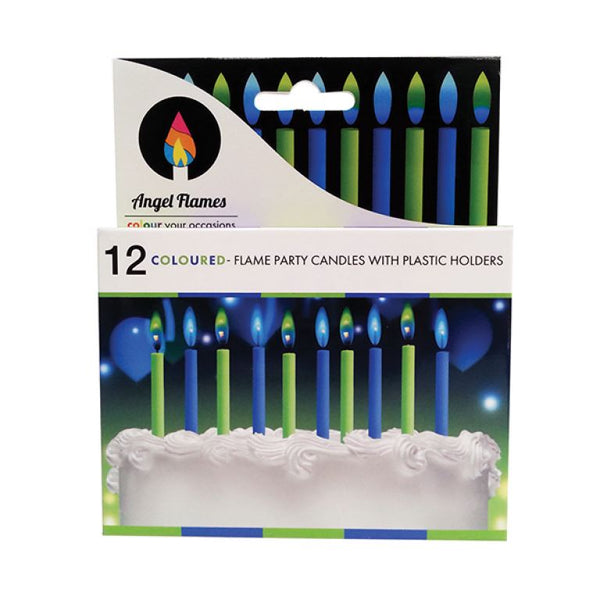 Angel Flames Candle BLUE GREEN Coloured Flames Candles - Birthday Cake Party