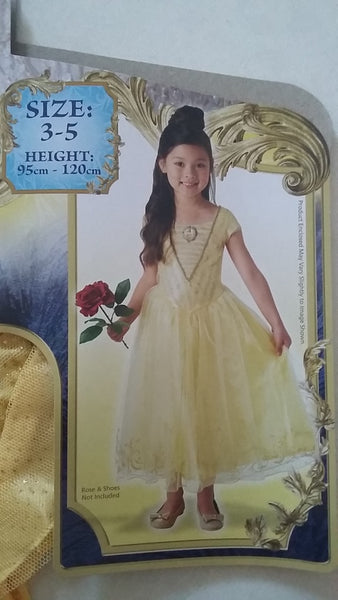 Belle Beauty & The Beast Costume Size 3-5 Disney Dress Up for Kids / Girls