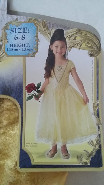 Belle Beauty & The Beast Costume Size 6-8 Disney Dress Up for Kids / Girls