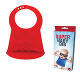 Super Baby Bib Superhero with Curved Bottom Catcher 3D Silicone Red
