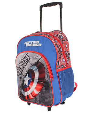 Captain America Shield Trolley Wheelie Suitcase Luggage Travel School Bag for Kids Marvel Avengers