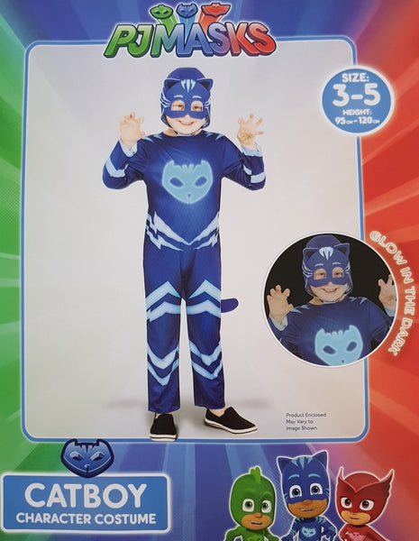 PJ Masks Catboy Costume 3-5 Years Glow In The Dark Dress Up for Kids /Children