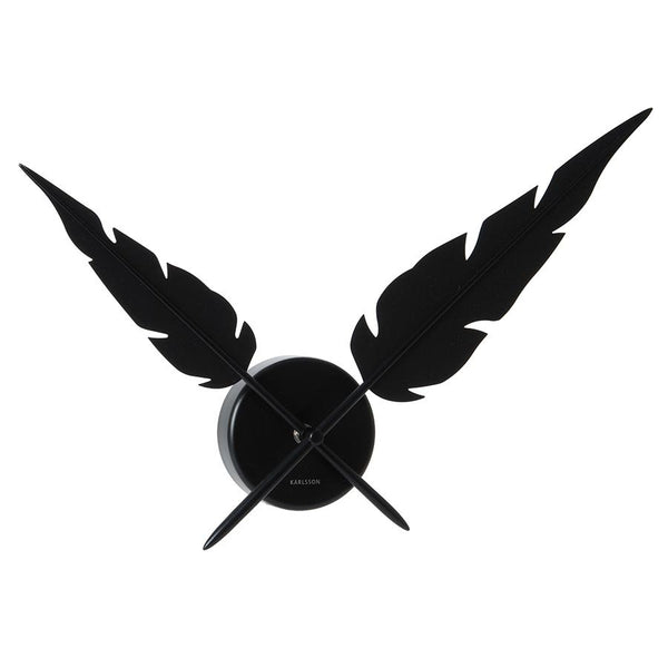 Karlsson Wall Clock Feathers Black Designer Clock by Tanja Soeter 65 cm
